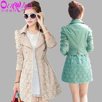 women coat autumn winter women 2014 Fashion Style Women trench lace coat Slim Fit  Leisure Lady Jacket  A817 free shipping
