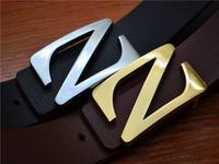 Two Side Usable Belt Mens Strap Genuine Leather Belt  Man Women Waist  Alloy Golden/Silver Z Buckle Belts Free Shipping