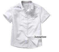 Children's clothing 2014 summer 100% cotton male child white short-sleeve shirt child baby shirt 4-14a