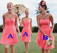 Fashion Strapless Sweetheart Pleated Knee length Chiffon Hot Pink Bridesmaid Dresses 2014