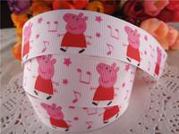 2014 new arrival 1'' 25mm peppa pig printed grosgrain ribbon cartoon ribbons cloth tape 50 yards WQ14032430