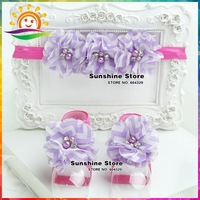 Sunshine store #2B1949 5 set/lot (purple)Wave Baby Boutique Vintage rosset  Headbands and Barefoot Sandal lace set diamond/pearl