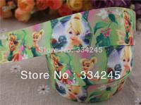 2014 new arrival 1'' (25mm) Tinker bell princess printed grosgrain ribbon cartoon ribbon hairbow ribbon wholesale 50 yards