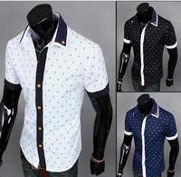 2014 men's fashion casual print short-sleeved shirt lapel deals