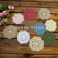 Free shipping Wholesale Handmade Crochet Coaster Cotton Ecru Doily 10cm Crocheted Cup mat Round placemats 50pcs/Lot