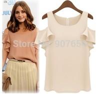 Hot Sell Free Shipping European and American Big Favorite Actress Wild Lotus Sleeve Chiffon Strapless Shirt Women T-shirt