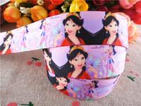 "2014 new 7/8"" (22mm) princess MuLan printed grosgrain ribbon cartoon girl ribbons hair accessories 50 yards wq14030317"