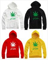 2014 Lovers hip hop hoodies Marijuana leaf print hoodie roll up the weed pullover for spring/autumn/winter fleece hoodies 9color