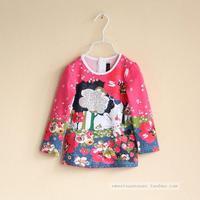 Catimini girls flowers bunny pattern cotton long-sleeved T-shirt