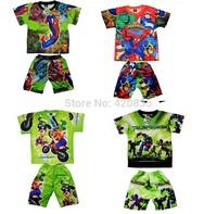 Summer pajamas 2014 boys superman bright color pijamas clothing sets printed t shirts+short pants kids clothes set