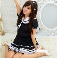 2014 New Sexy Women Costume Dress/Brand Uniform Maid Cosplay Costume/Fashion Black Ruffle Lace Costume Women