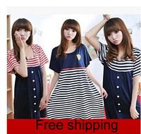 Summer Short-sleeved Cotton Striped Pregnant Women Dress Maternity Dress Maternity Clothing