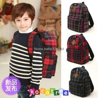 Child school bag baby kids child backpack lattice cloth fashion backpack travel bag small