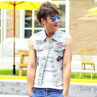 Free shipping! 2014 new men's fashion Slim labeling decorated denim vest