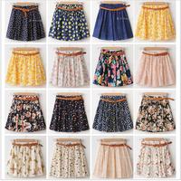 Free Shipping 2014 Vintage New Fashion Mini Summer Chiffon Women Skirts Casual Floral Summer Dress Short Skirts,Belt As Gift