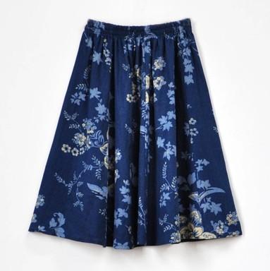 Лето женщины в синий цветок принт винтажный bohemain стиль юбка дамы хлопок лён пляжный повседневный юбка одежда