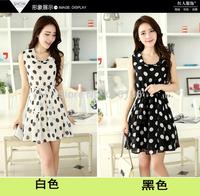 2014  summer dress formal polka dot dress lacing female sleeveless chiffon dress vestidos de festa roupas femininas  plus  dress