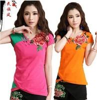 Free shipping women's t-shirt Chinese national wind retro style flower embroidery coat Pankou lady T shirt