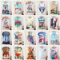 New Vintage Harajuku Fashion Summer 2014 Digital Print Short Sleeve T Shirt Women T-Shirt Clothing Cotton Print Tee Blouse Tops