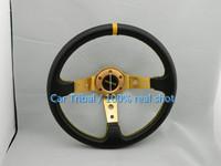 Free Shipping 2014 Hot momo steering wheel modified carbon fiber pvc / 350mm racing steering wheel good quality