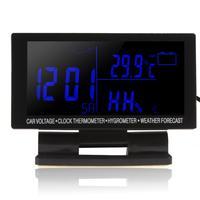 12 / 24V Auto Electric LED Digital Display Thermometer + Voltage Meter Voltmeter + Hygrometer + Weather Forecast + Clock