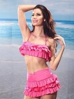 New 2014 Summer Beach Vintage Lace Bikinis Set Women Push Up Swimwear & Swimsuit Bathing Suit Free Shipping