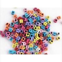 100pcs/bag Macroporous square letters beads refill bracelet color loom Rubber Bands pack for Kids' DIY handmade knitting