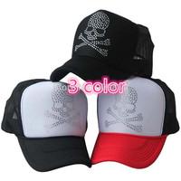 20pcs/lot Free Shipping Skull pattern truck cap Crystal rhinestone mesh hat Snapbacks caps, hat circumference 56--59cm 3 color