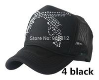 20pcs/lot Free Shipping Double gun patterns truck cap Crystal rhinestone mesh hat Snapbacks caps,  56--60cm 6 color