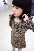 2014 Autumn Children's long-sleeved dress girls fashion Leopard dresses for girls vestidos de menina