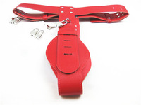 Leather Female Chastity Belt Device Sex Pant Underwear Adult Toys with Lock Red YC473