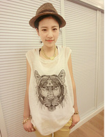 Vintage school loose t shirts Women White tiger head graffiti Vests  tops