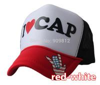 50pcs/lot Free Shipping I LOVE CAP letters truck cap Mesh hat Sun hats Snapbacks caps, hat circumference 56--60cm 3 color