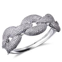 top quality zirconia crystal setting women bangle bracelets 2014  luxury type cocktail jewelry free shipping