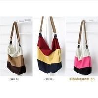 3 Colors Casual Canvas Patchwork Bag Women Messenger Bags Vintage Shoulder Crossbody Bags