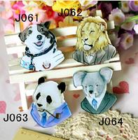(min mix order is $10) Free shipping 2016 New Harajuku Brooch Personalized funny animals  Dalmatians lion panda rat badge brooch