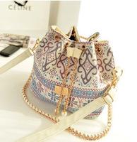 Hotselling 2015 New Fashion Women Handbag National Trend Bohemia Style Print Chain Drawstring Bucket Bag Women Messenger Bag