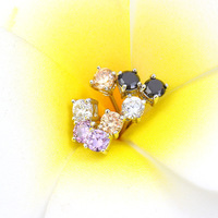 Popular simple small Cubic zirconia crystal stud earrings 3MM round 4 claws 18K white gold plated post earrings for women girls
