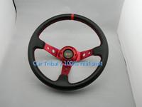 Free Shipping 2014 new car modification steering wheel / 350mm OMP racing steering wheel / matte leather steering wheel