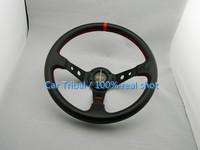 Free shipping hot models omp racing steering wheel modification / 350mm carbon fiber steering wheel pvc car modification