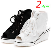 Summer Canvas Sandals Fashion Wedges Sneakers,Zipper 2-color Styles,Height Increasing 6cm,Size 35~39,Women's Shoes