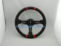 Free Shipping 2014 hot racing steering wheel / 350mm leather steering wheel black red / Universal momo Steering Wheel