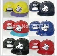 1pc/lot2014 Hot Sale Unisex Faux Leather finger BBOY Snapback  Hip Hop Cap Baseball Skateboard Hat YS9046