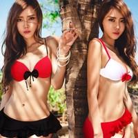 New 2014 Sexy Underwire push up Bikinis set  3pcs  Skirted Bikini bathing suit swimming suit for women
