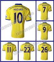 Latest 2014-15 Premier League Blue Legion Thailand quality Chelsea Away Yellow soccer jersey HAZARD TORRES david luiz WILLIAN