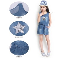 Free shipping 2014 Summer Girl Denim Dress Sleeveless Cotton Star sequins Washed denim Girls clothes Retail