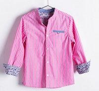 boy pink Pinstripe shirt The cowboy side pocket with soft texture High-quality 5pcs/lot