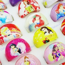 2014 New Arrival 50pcs Free Shipping Lovely Mix Resin Cartoon Girls Princess Children Rings Wholesale Jewelry