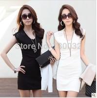 Coreano de la moda de verano ropa para mujer sin mangas de encaje sundresses damas casual mini vestido blanco y negro dress