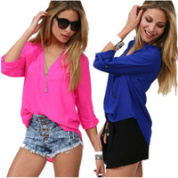Fashion 2014 Summer Women Temperament European American StyleCasual Shirt Slim V-Neck Chiffon Blouse